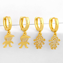 Boys Girls Gold Color Brass Pendant Statement Earrings For Women Rhinestone Crystal Zircon Set Female Fashion Jewelry