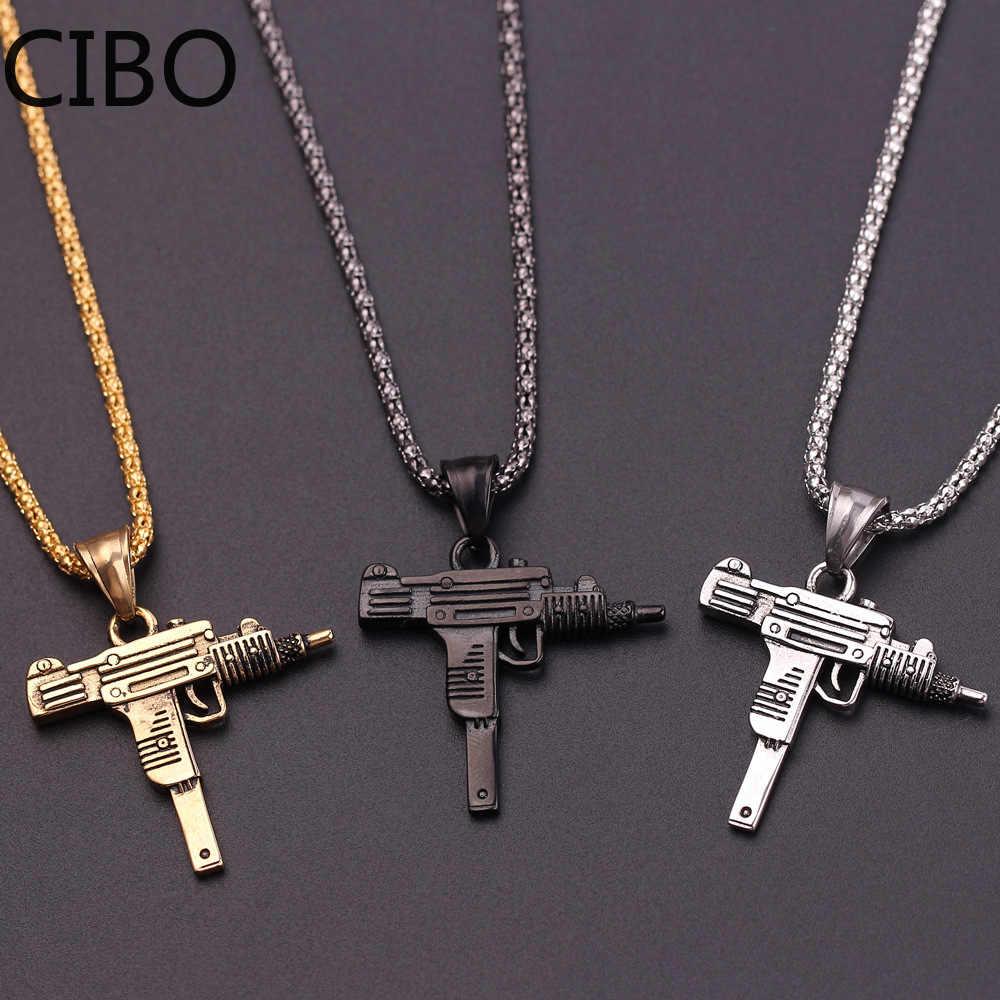 2019 جديد UZI بندقية شكل قلادة قلادة الرجال الهيب هوب مجوهرات الفضة الذهب أسود اللون الفولاذ المقاوم للصدأ الجيش نمط الذكور سلسلة الرقبة