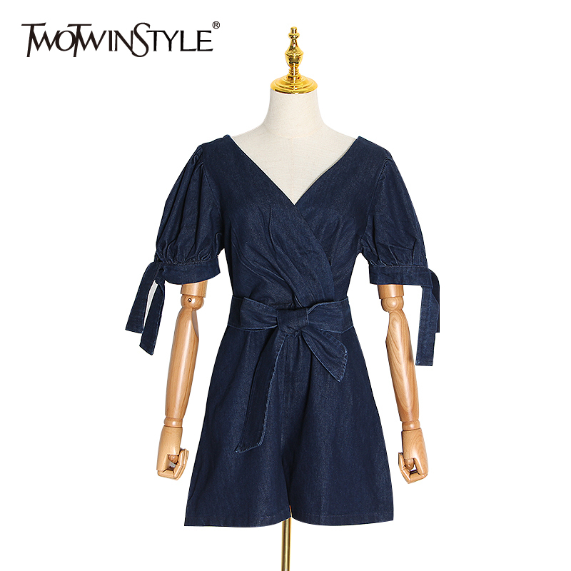 TWOTWINSTYLE Vintage Sexy Hollow Out Playsuit For Women V Neck Lantern Sleeve Backless High Waist Lace Up Tunic Playsuits Female
