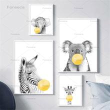 Жираф плакаты с зеброй и фотокартина желтые пузырьки животные