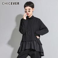 CHICEVER Embroidery Patchwork Ruffle Black Female T shirt Turtleneck Long Sleeve Women's Shirt 2019 Autumn Korean Fashion New
