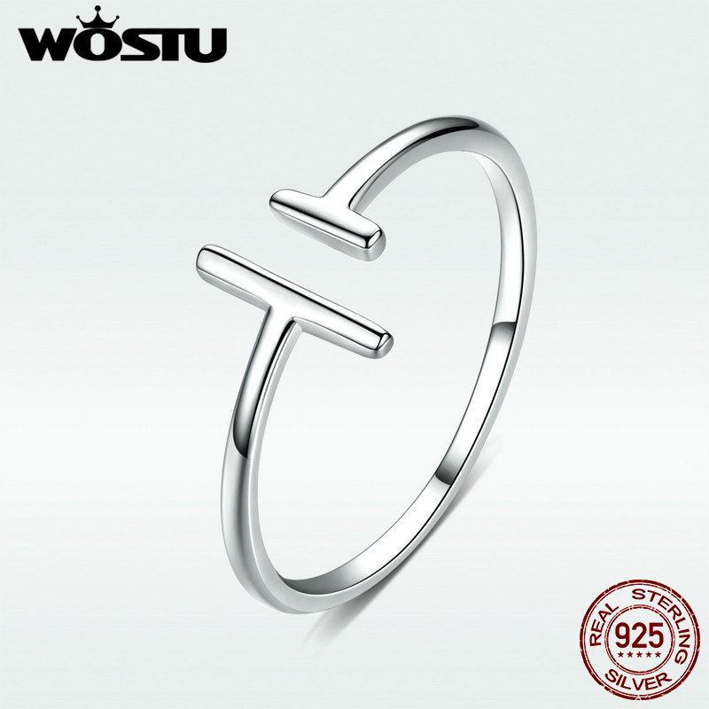 WOSTU Genuine 100% 925 Sterling Silver Wedding Rings Parallel Lines Adjustable Rings For Women Fashion Original Jewelry BKR555