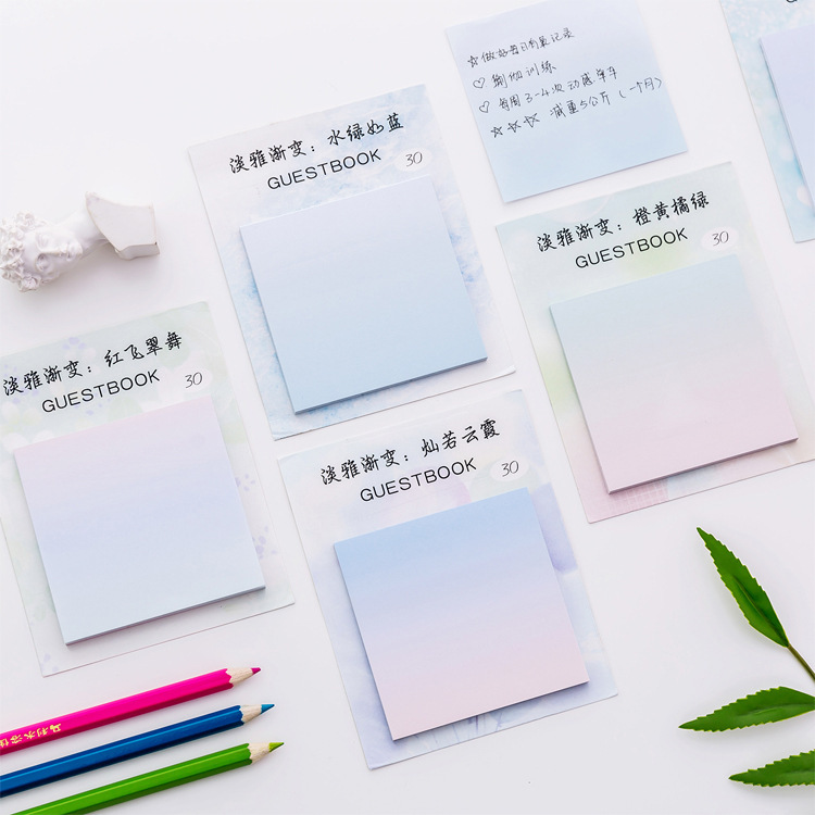 Mohamm Creative And Elegant Gradual Change Message Sticky Note Memo Pad Book Small Fresh Office Learning