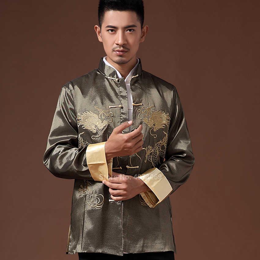 זכר בגדים 2020 רקמת דרקון Tangsuit מסורתי סיני בגדי גברים חולצה למעלה מעיל Cheongsam Hanfu בציר