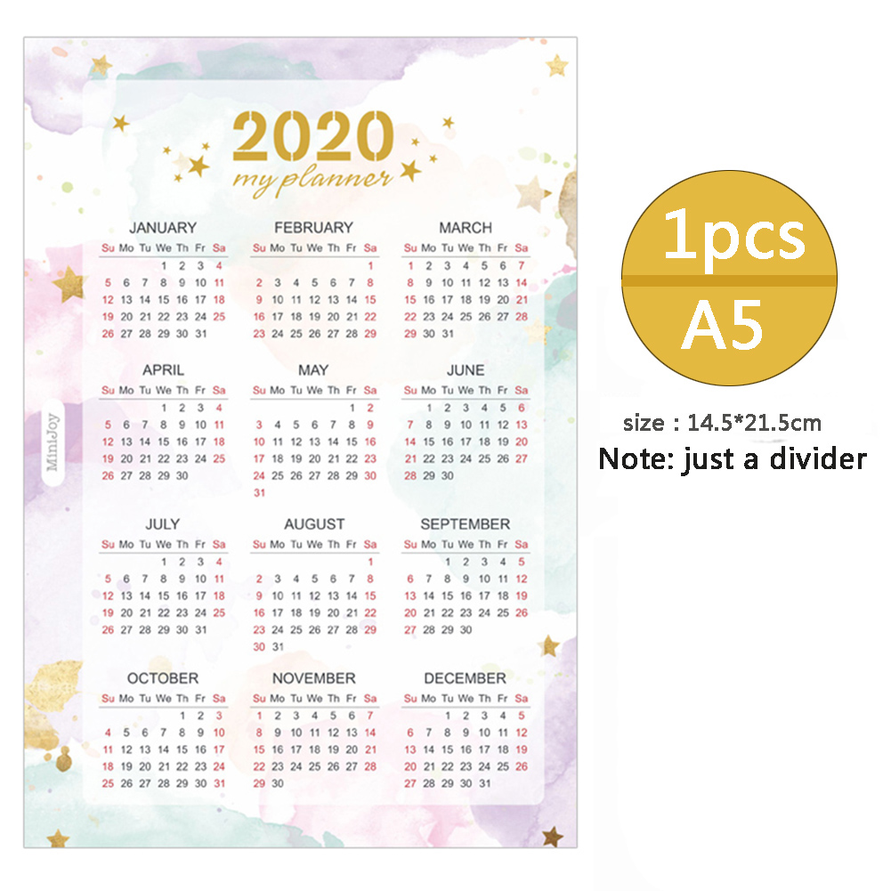 2020 Year Calendar Index Dividers Watercolor Refill For A5 A6 6 Holes Leaf Spiral Notebook Diary School Stationery