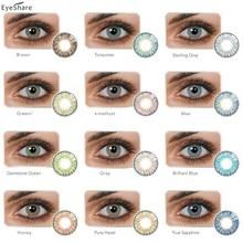 Eyeshare par de moda 3 tone colorido lentes de contato cores dos olhos lentes