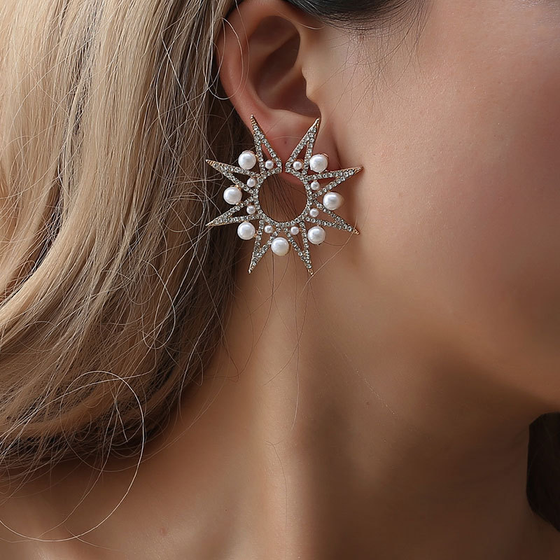 fashion geometric exaggeration earrings pearl  luxury noble star sunflower for women big stud