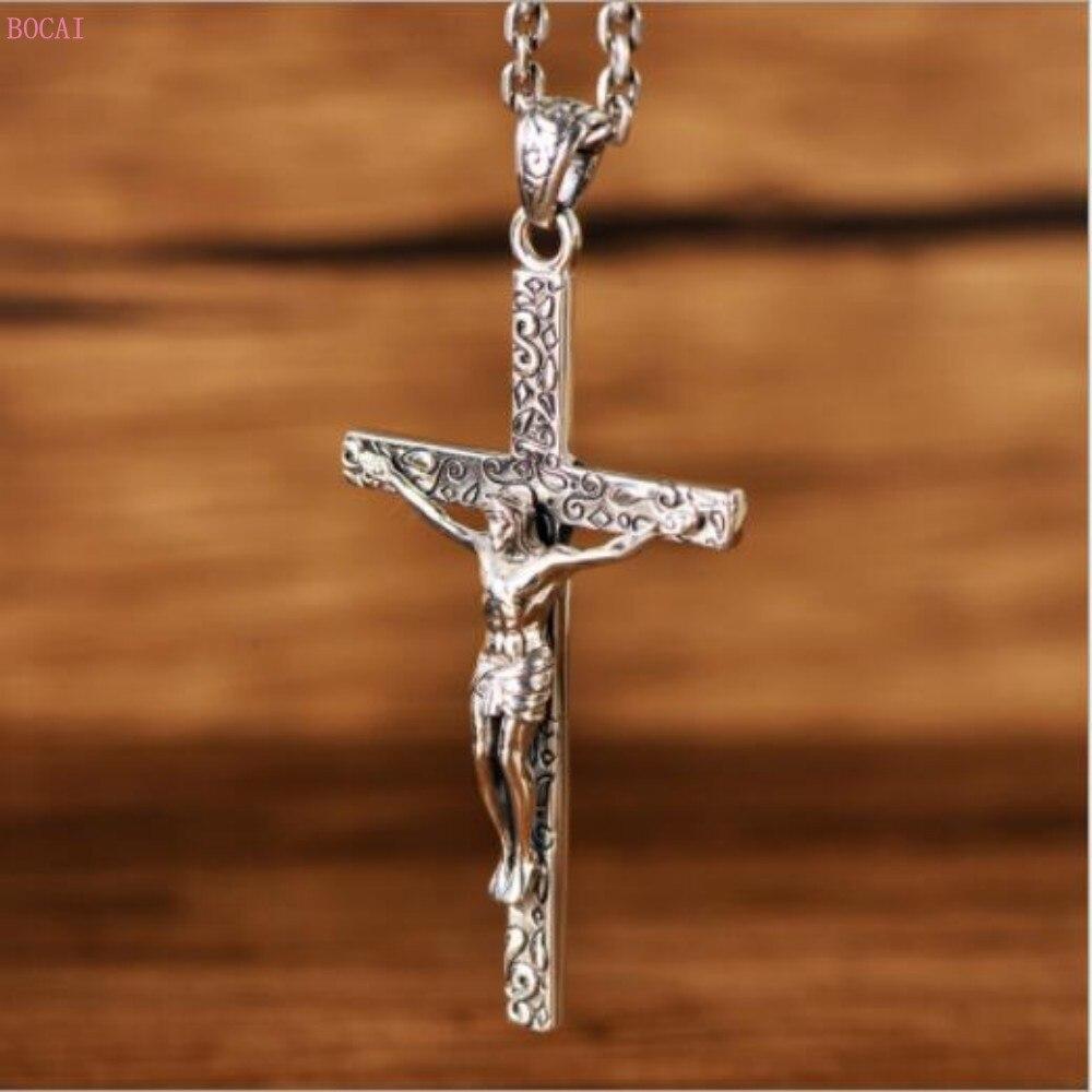 2019 nouveau S925 pur argent rétro Thai argent jésus croix totem mode mâle catholique personnalité femme foi pendentif