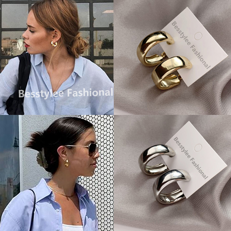 Minimalist Gold/Silver Color Round Earrings for Women Trendy Geometric Drop Statement Earrings Party Fashion Jewelry Gift