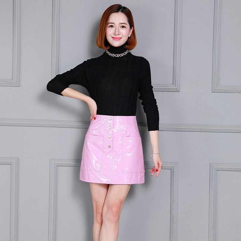 High Street Koreaanse Vrouwen Echt Lederen Slim Fit A-lijn Rokken Hoge Taille Schapenvacht Metel Knop Heldere Patent Lederen Rok