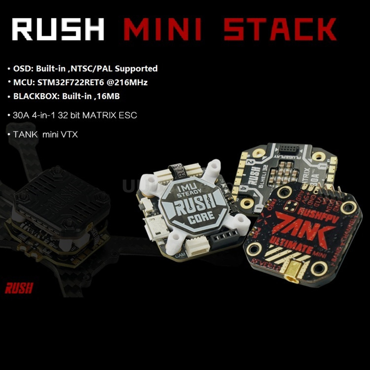 2020 New RUSH FPV TANK Stack RUSH CORE F7 & MATRIX 32bit 30A ESC VTX 25-800MW FPV Combo Multi Rotor Parts For FPV Racing