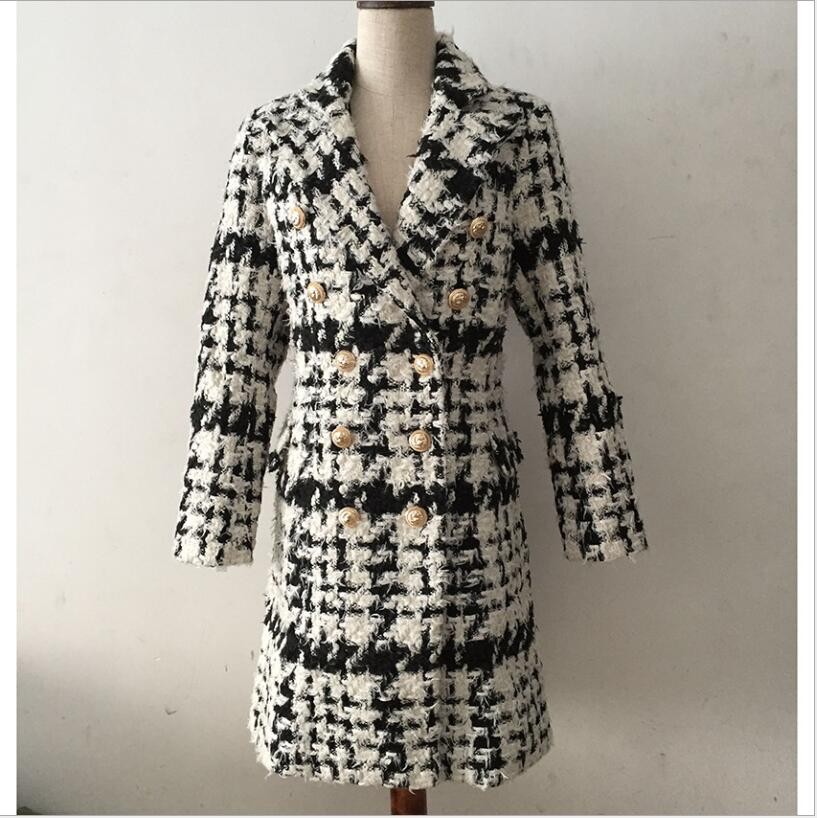 2019 Winter Women's Blazer Coat Fashion Double-breasted Plaid Slim Fit Wool Cashmere Casual Chic Women Long Sleeve Women's Blaze