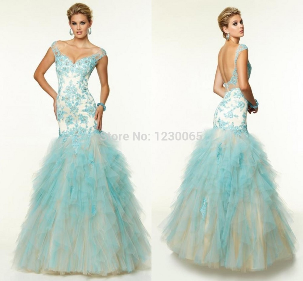 Tiered Ruffles Appliques Open Backless Long Prom Dresses 2015 Sleeveless Floor Length Sexy V Neck Cheap Evening Dress Party Gown