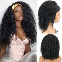 Wig Human-Hair Half-Wigs Brazilian Afro for Black Women Virgin-Unprocessed 3/4 Headband