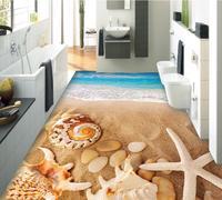 3d flooring Beach conch shell kitchen wallpaper self adhesive paiting for living room Bedroom bathroom floor vinyl