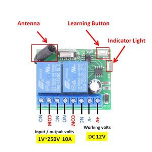 Image 4 - DC12V 10Amp 2CH 2 банды 433 МГц rf пульт дистанционного управления Переключатель Беспроводной релейный приемник для гаража \ освещение \ Электрический регулятор двери