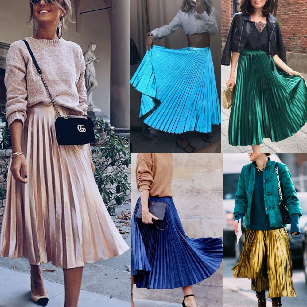 Autumn Winter Vestidos Fashion Lady High Street Office Pleated Skirts Women Solid Satin High Waist Elastic Skirts Knee Sundress