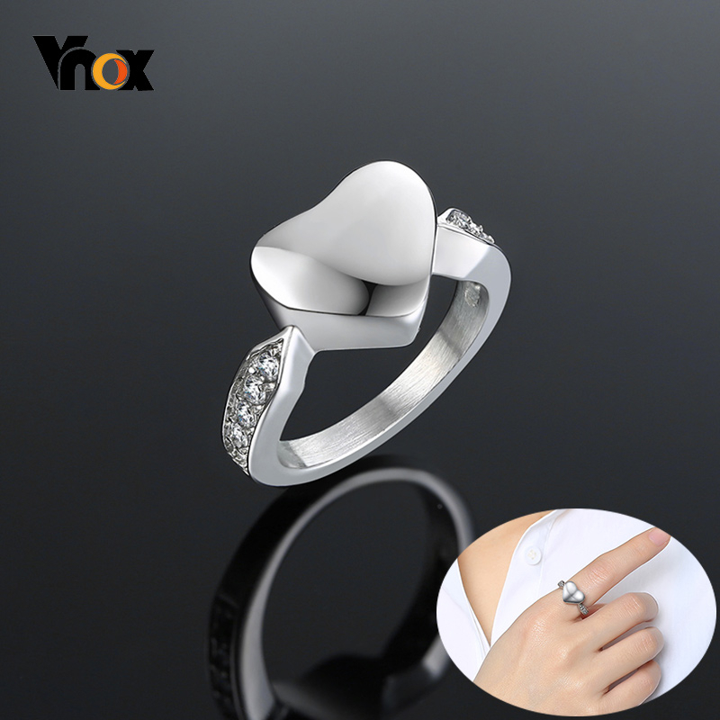 Vnox Women's Heart Urn Finger Ring With Bling CZ Stones Never Fade Love Keepsake Gifts Female Jewelry