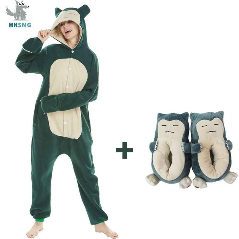 HKSNG New Animal Adult Kigurumi Snorlax Pokemon Onesies Pajamas Cartoon Cosplay Costumeshalloween Party Jumpsuits Suit Kigu