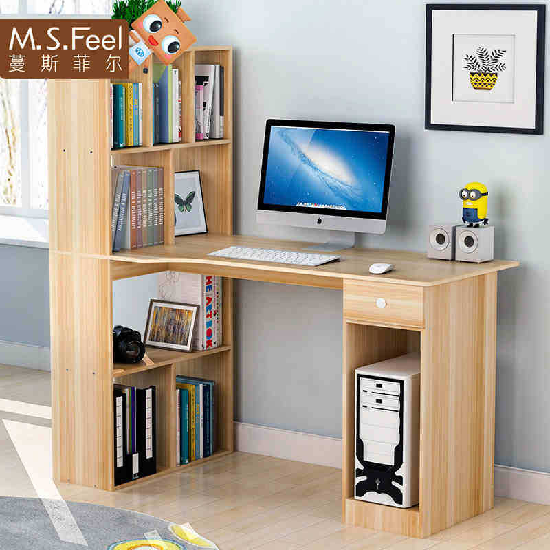 Man Patriarch Simple Computer Desk Desktop Table Household Desk Bookcase One-piece Office Desk Simple Students Writing Desk