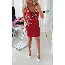 New Fashion Women Summer Dress Sexy Round-necked Rose Printed Button