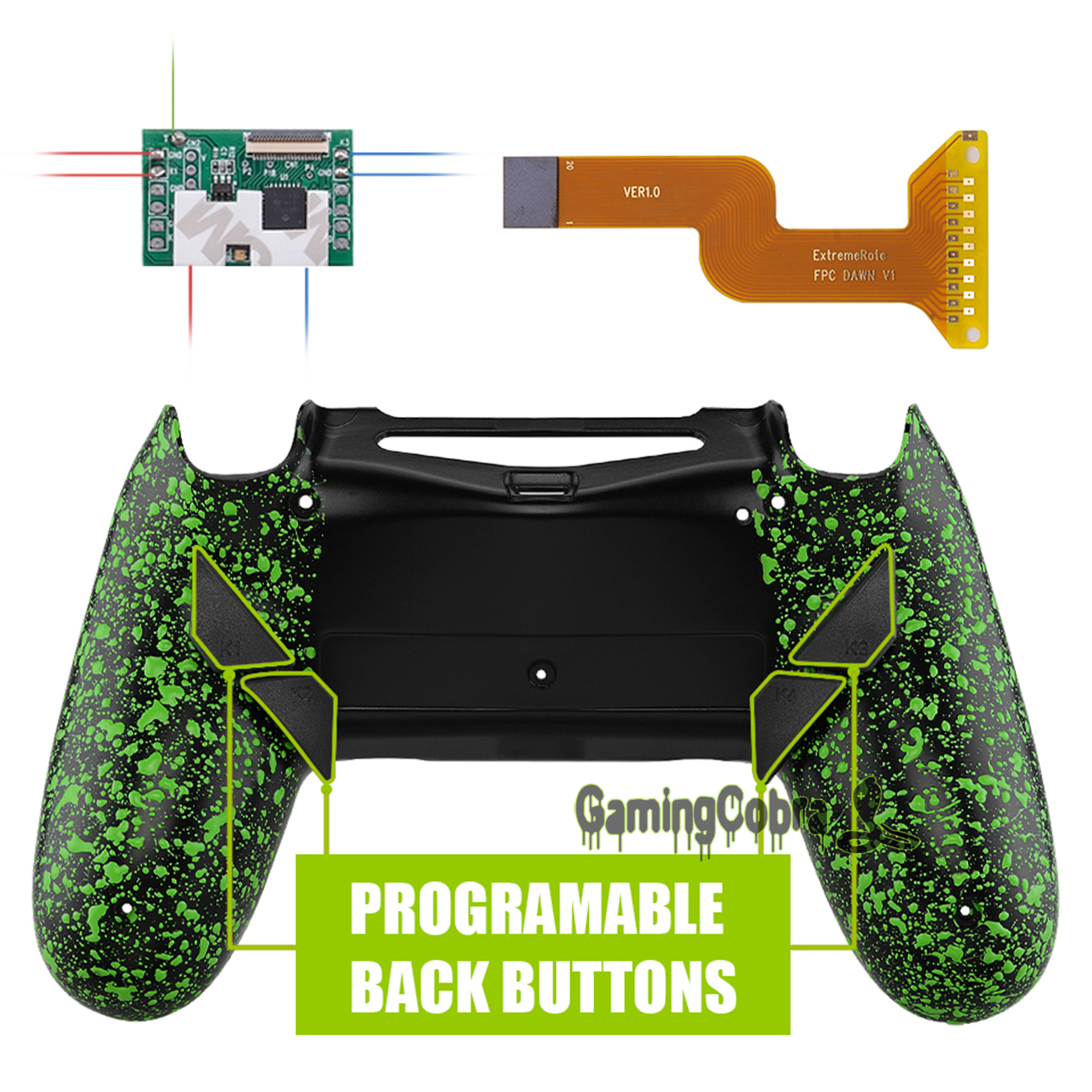 Textured Green Dawn Programable Remap Kit for PS4 Slim Pro Controller <font><b>JDM</b></font> 040/050/<font><b>055</b></font> w/ Custom Back <font><b>Shell</b></font> & 4 Back Buttons image