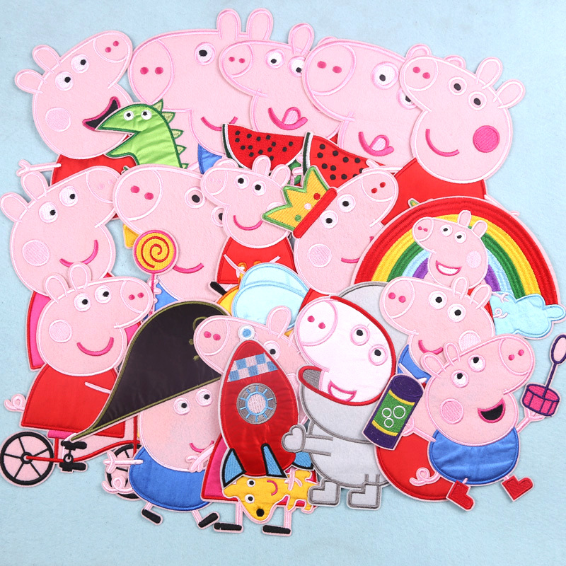 Peppa Pig Embroidery Patch Applique Ironing Clothing Sewing Supplies Decorative Badges Sticker For Clothing  Cartoon Decorative