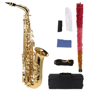 Image 2 - ammoon Eb Alto Saxophone Brass Lacquered Gold E Flat Sax 802 Key Type Woodwind Instrument with Cleaning Brush Cloth Gloves Strap