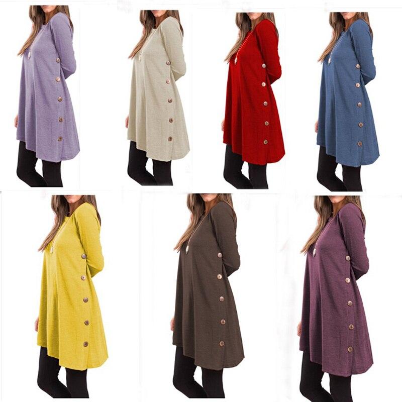 2020 модный осенний Новый свитер пуговицы с длинным рукавом и асимметричной юбкой, Одноцветный Длинный топ Simplee, толстовки, женские свитера, х...