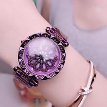 Top luxury zircon dial rotating quartz watch ladies female diameter 34mm stainless steel strap