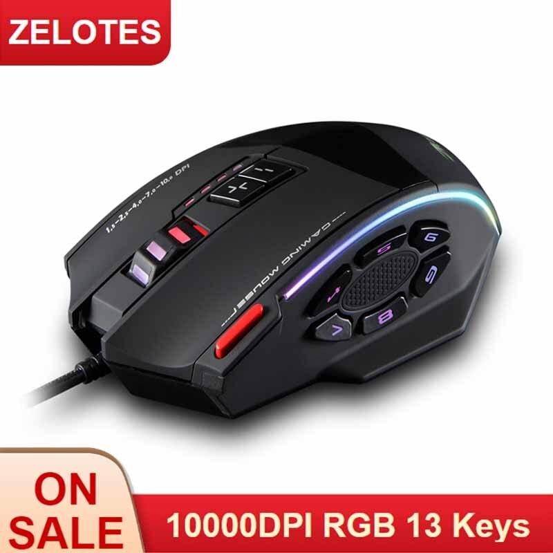 Zelotes C-13 mouse com fio para jogos, 13 teclas de programação ajustáveis rgb 10000 dpi, cinto de luz embutido, mecanismo recarregável