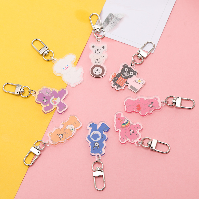 New Korean Ins Cute Bear Keychain Pendant Hanging Ornaments Acrylic Key Chain Pendant Pendant Female Keyring Accessories Woman