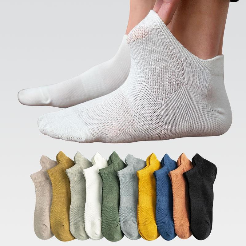 5 пар, хлопковые мужские короткие носки, Модные дышащие мужские носки по щиколотку, Удобные однотонные повседневные носки, мужские уличные м...