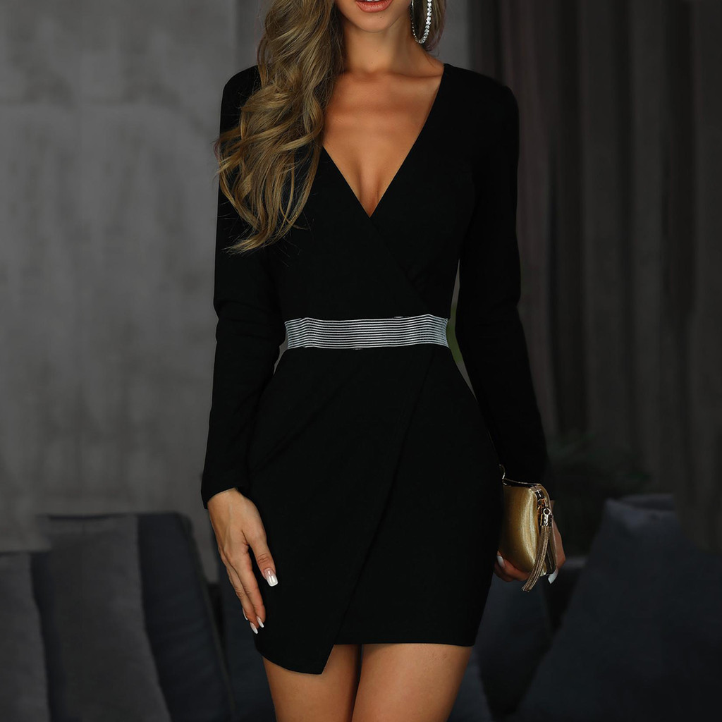 Fashion Womens V Neck Mini Dress Long Sleeve Slim Wear To Work Business Office Party Solid Sheath Bodycon Pencil Dress#J30