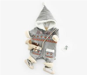 Image 3 - Bé Romper Áo Liền Quần Sơ Sinh Mùa Thu Đông Giáng Sinh Quần Áo Nỉ Bé Gái Romper Áo Liền Quần Cotton Mũ Trùm Áo Liền Quần Bé Gái Bé Trai Liền quần