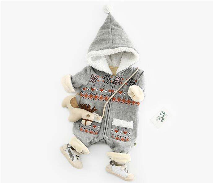 Image 3 - Baby Romper Newborn Autumn Winter Christmas Baby Clothes Fleece Baby Girl Romper Cotton Hooded Baby Jumpsuit Boy Romper Jumpsuit-in Rompers from Mother & Kids