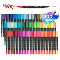 Hethrone 100 colores pen FineLiner Drawing Painting pen Watercolor Art supplies Markers Double Tips Brush Pen Graffiti sets gift