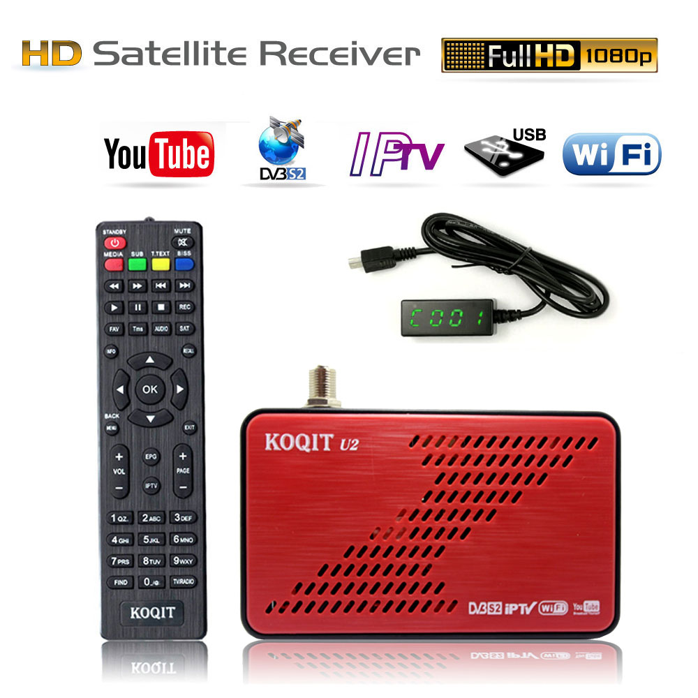 KOQIT U2 Mini Size Digital TV Box DVB-S2 Satellite Receiver DVB S2 Receptor TV Tuner M3u IPTV Ethernet Wifi Youtube Cline VuBiss