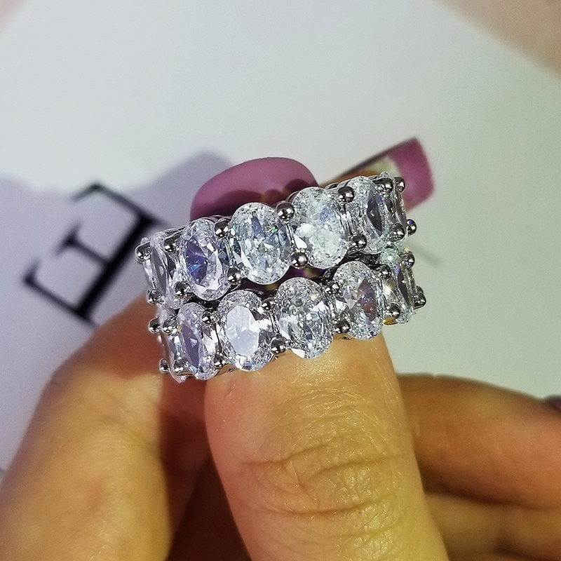 Fashion Solid 925 Sterling Silver Oval Zircon Wedding Eternity Band For Women Anniversay Party Gifts Luxury Jewelry R5711