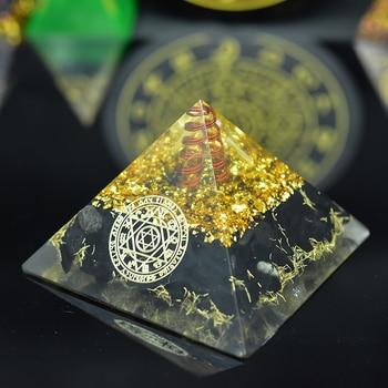New Natural Crystal Point Orgonite Reiki Tourmaline Orgone Pyramid Energy Generator Meditation Yoga  Balancing Positive Energy