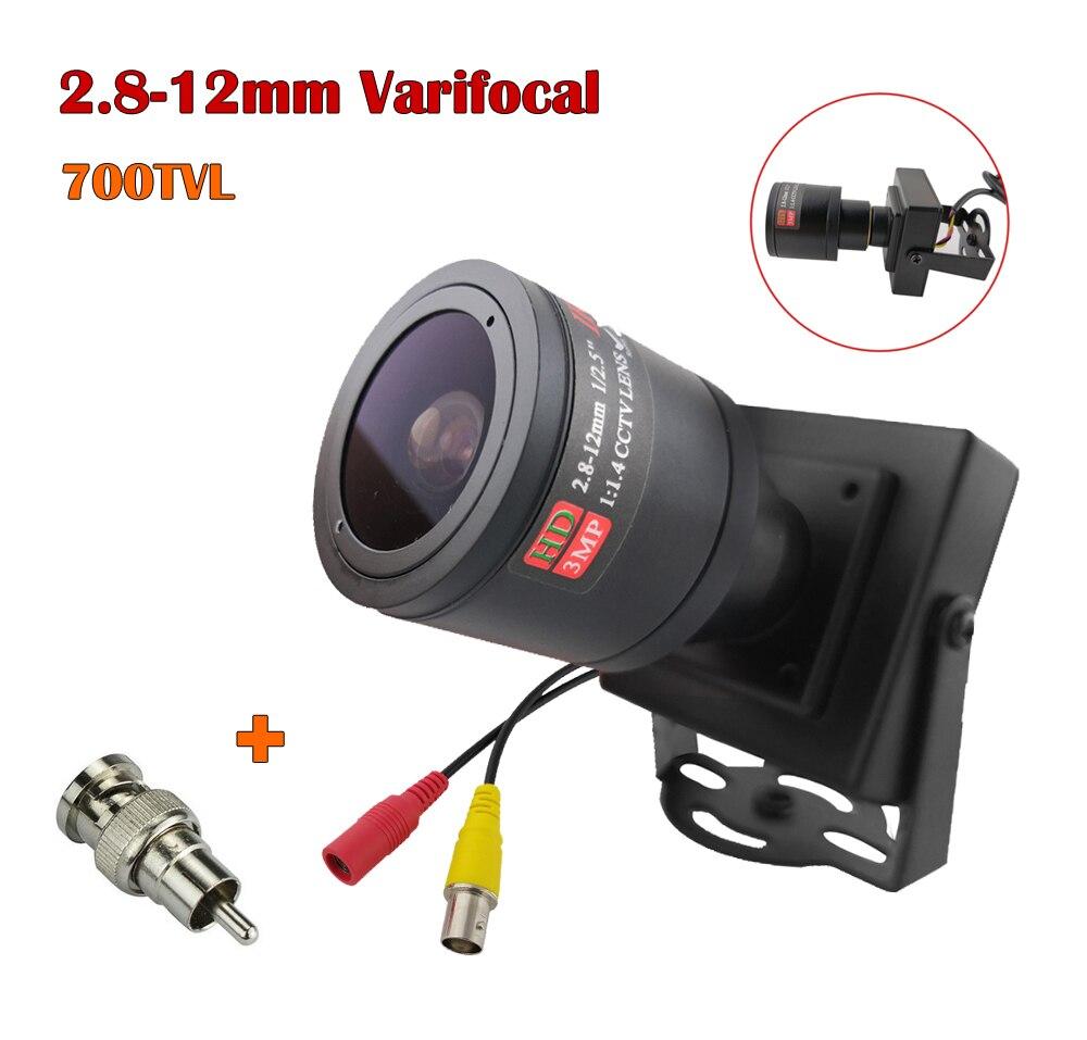 Металлическая мини камера 700TVL 2,8 12 мм, регулируемая линза, ручная варифокальная линза + адаптер RCA, CCTV камера, Автомобильная камера для обгона Камеры видеонаблюдения      АлиЭкспресс