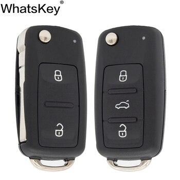 WhatsKey odwróć zdalny klucz samochodowy Shell Case dla Seat Altea dla Skoda Fabia dla volkswagena VW Caddy Passat B5 Golf 6 7 4 5K0837202AD