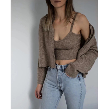 ZA 2020 spring new women's solid khaki cardigan knitted sweater Casual two pieces set fashion streetwear sexy female tops