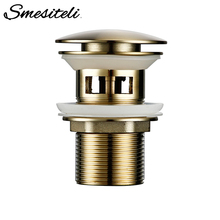 Smesiteli Bath Bathrrom Accessories Brushed Gold Matt Waste Pipe Drainage System With Overflow Bathroom Hotel Stopper Dispenser