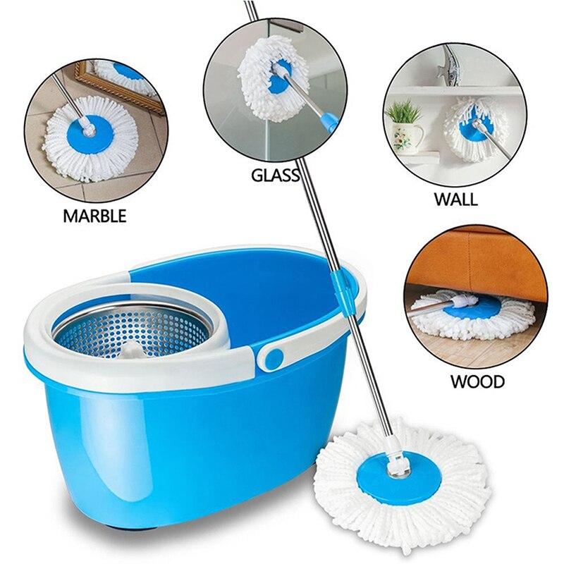 Facile lavable nouveau 360 degrés rotation magique microfibre têtes maison produits de nettoyage tige générale + plateau en acier inoxydable plancher vadrouille têtes