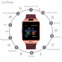 Reloj inteligente con pantalla táctil dz09 reloj de pulsera con Bluetooth y tarjeta SIM para teléfonos Ios y Android, compatible con varios idiomas