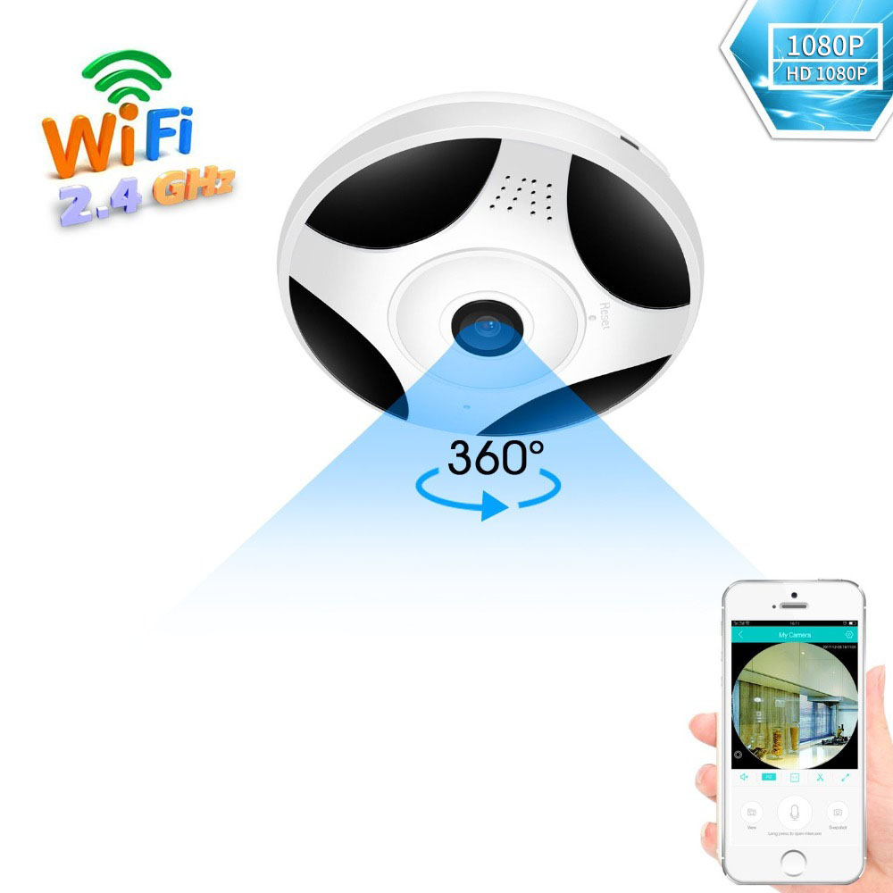 200W 1080P Panoramic Camera WiFi 360 ° Wireless Video IP Camera WiFi 1080P Way Audio SD Card Slot Mini Baby Sleeping Monitors