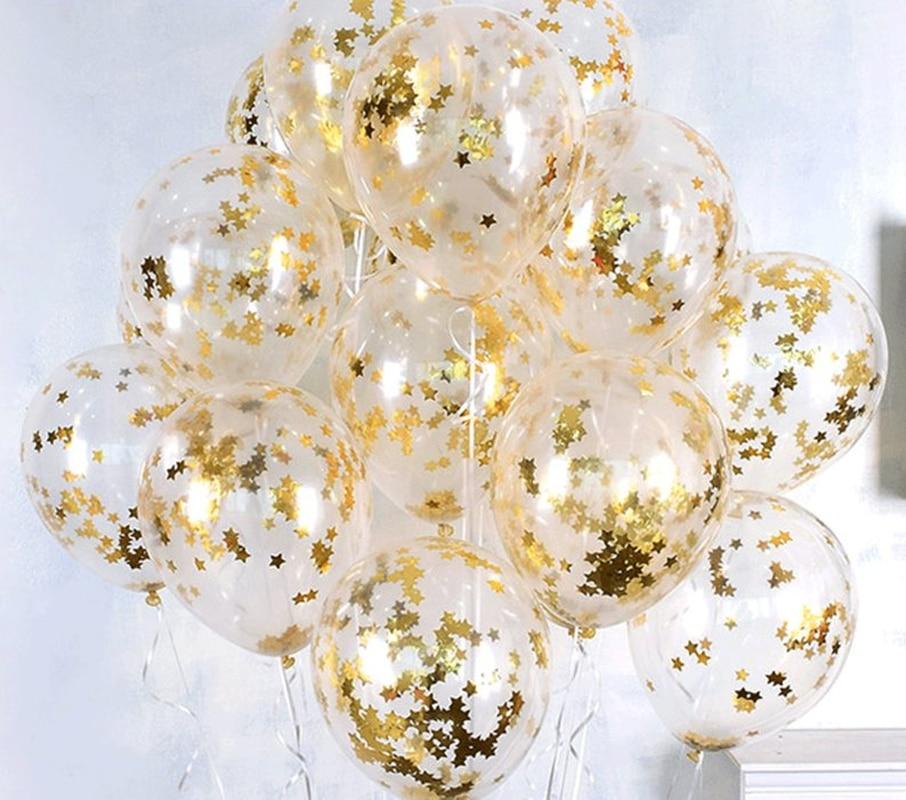 5/10pcs 12 นิ้ว Star Clear บอลลูนฟอยล์ Confetti Transparent Happy Baby Shower Birthday Party ตกแต่ง