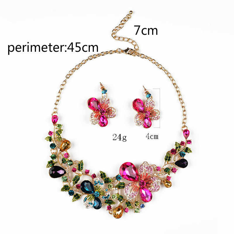 Baru Crystal Pernikahan Perhiasan Set Wanita Warna Emas Kalung Anting-Anting Panjang Set Gaun Aksesoris Bridesmaid Perhiasan Set