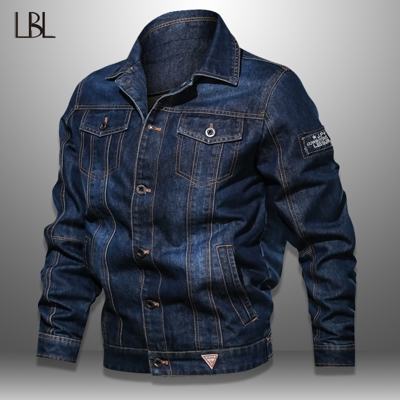 Mens Denim Jacket Military Outwear Tactical Jeans Jacket Men Solid Casual Air Force Pilot Coat Casaco Masculino Plus Size 6XL